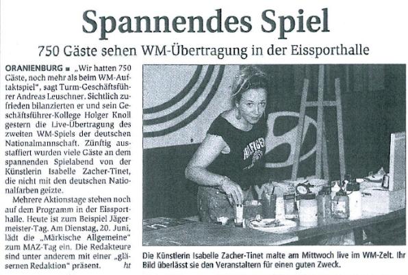 Pressebericht zum Fußballspiel in Oranienburg