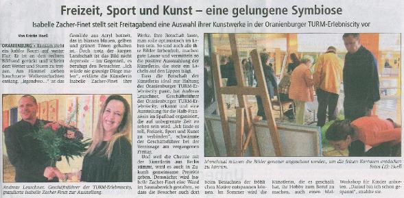 Pressebericht Vernissage Erlebniscity TURM in Oranienburg